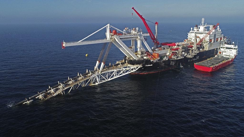Fartyg som lägger gasledning.