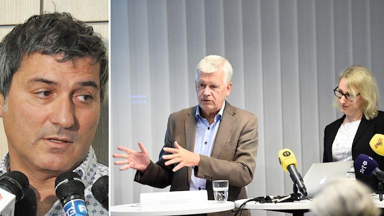 Utredaren Kjell Aspmark och utredningssekreterare Pernilla Östlund presenterar resultatet av den externa utredning som gjorts kring överläkaren Paolo Macchiarinis verksamhet vid Karolinska universitetssjukhuset