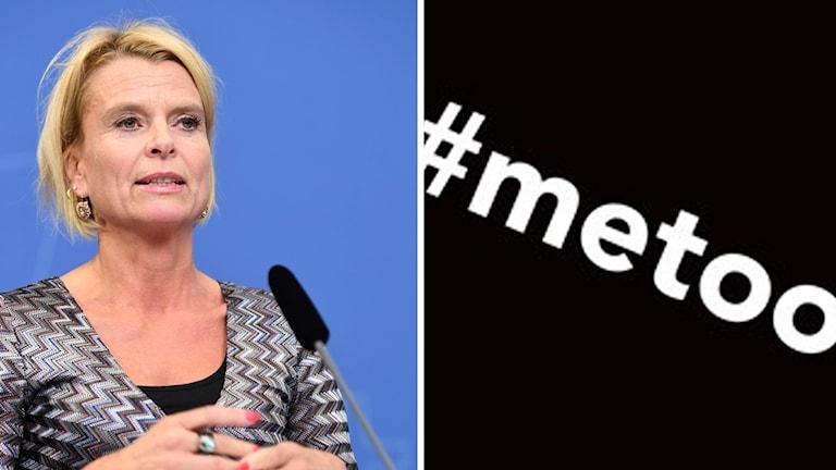 Åsa Regner  stödjer kampanjen #metoo. Foto: Jonas Ekströmer/TT. Montage: Sveriges Radio.