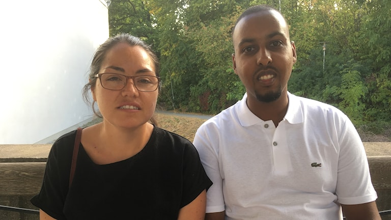 Macarena de la Cerda och Ilyas Hassan, talespersoner för Förorten mot våld.