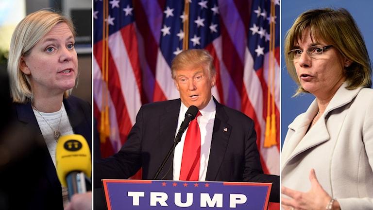 Finansminister Magdalena Andersson, Donald Trump, nyvald president i USA och Isabella Lövin, minister för internationellt utvecklingssamarbe