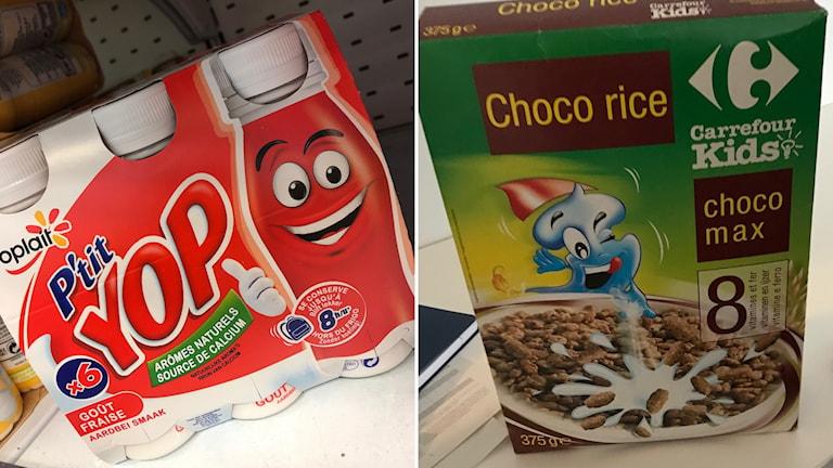 Yoghurt och flingor som konsumentföreningen BEUC pekar ut. På flingpaketet står det att produkten innehåller 8 vitaminer och järn, men inget om att flingorna består av 30 % socker.