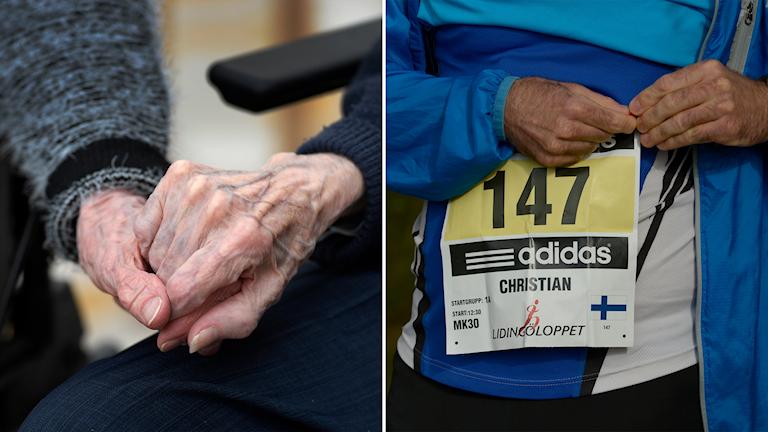 Två äldre händer som håller i varandra, en äldre person som tar på sig en nummerlapp för ett löparlopp.
