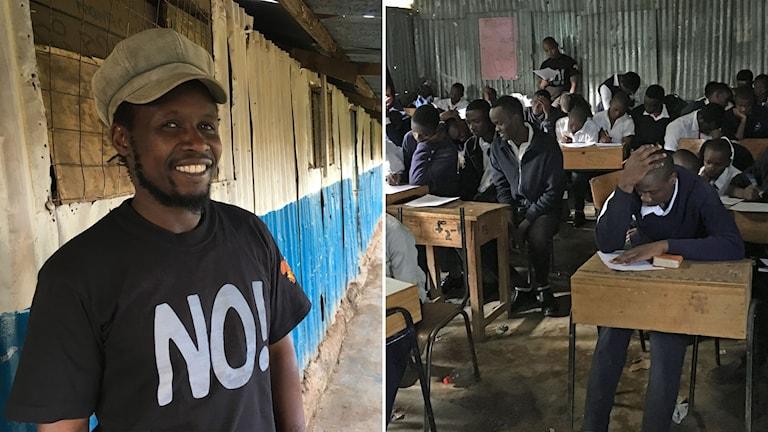Delad bild: Man med en tröja med texten No! och killar vid skolbänkar.