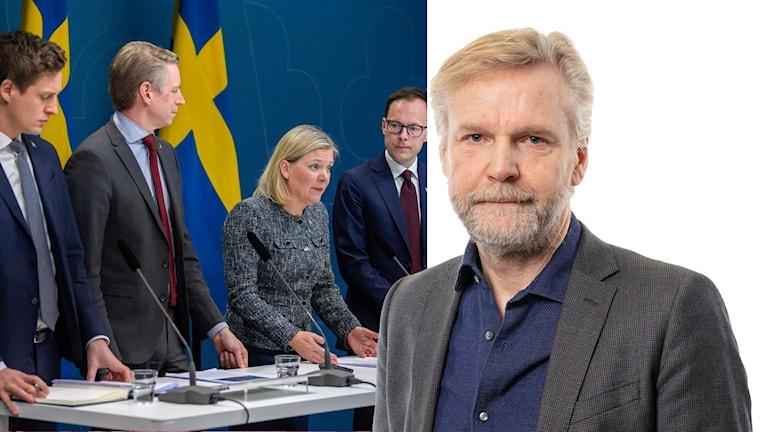 Emil Källström (C), finansmarknadsminister Per Bolund (MP), finansminister Magdalena Andersson (S) och Mats Persson (L) presenterar ett krispaket.