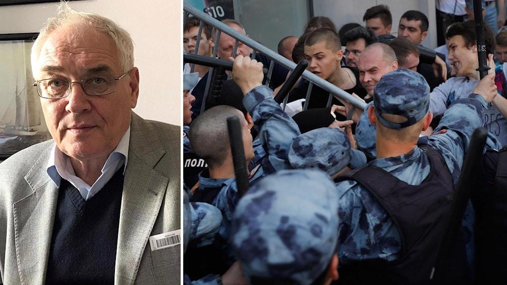Kollage av Lev Gudkov, chefen för landets enda oberoende institut Levada, och protester i Moskva 27 juli.