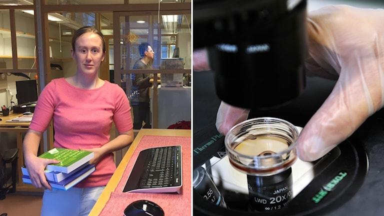 Delad bild: Kvinna med böcker i famnen och ett mikroskop