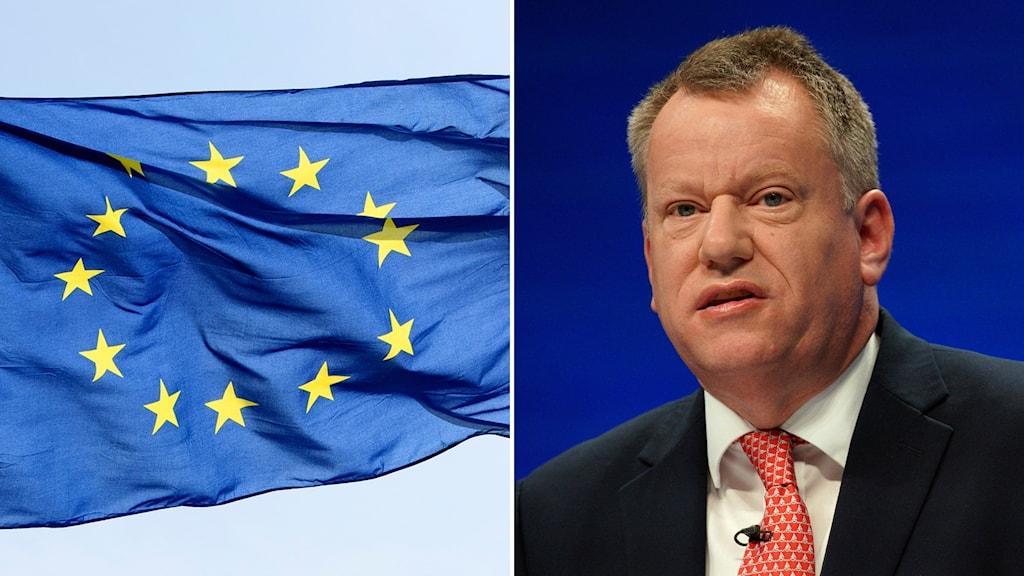 EU-flagga/Storbritanniens brexitansvarige David Frost