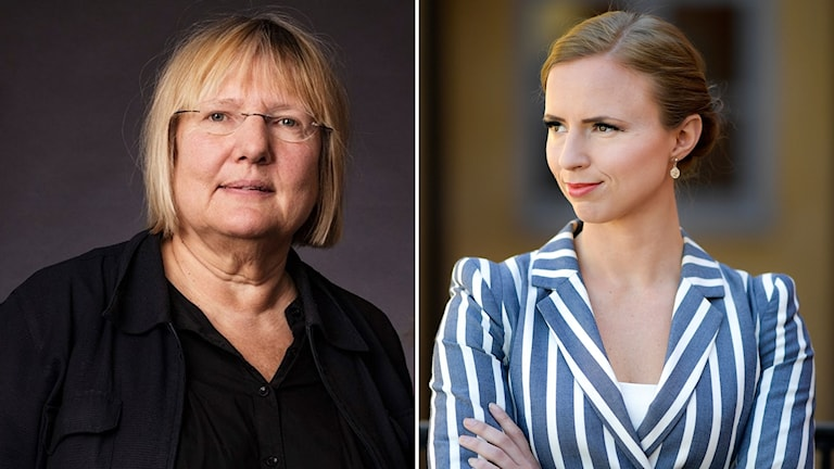 Kollage på Ekots Susanne Palme och KD:s Sara Skyttedal.