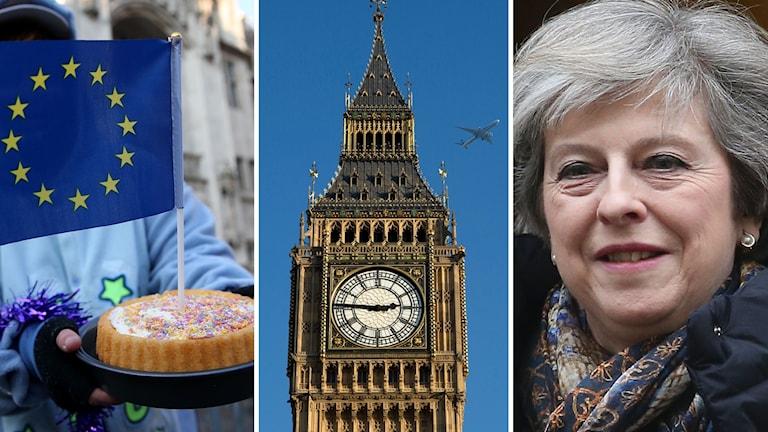 Big Ben, en slagklocka på Westminster i London, Storbritanniens premiärminister Theresa May, och en bild på en tårta med en EU-flagga.