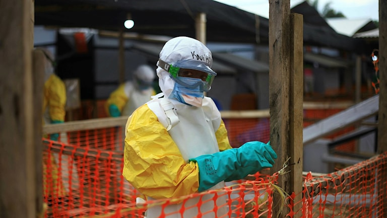 En sjukvårdspersonal på ett behandlingscenter för ebola i Beni, östra Kongo. .