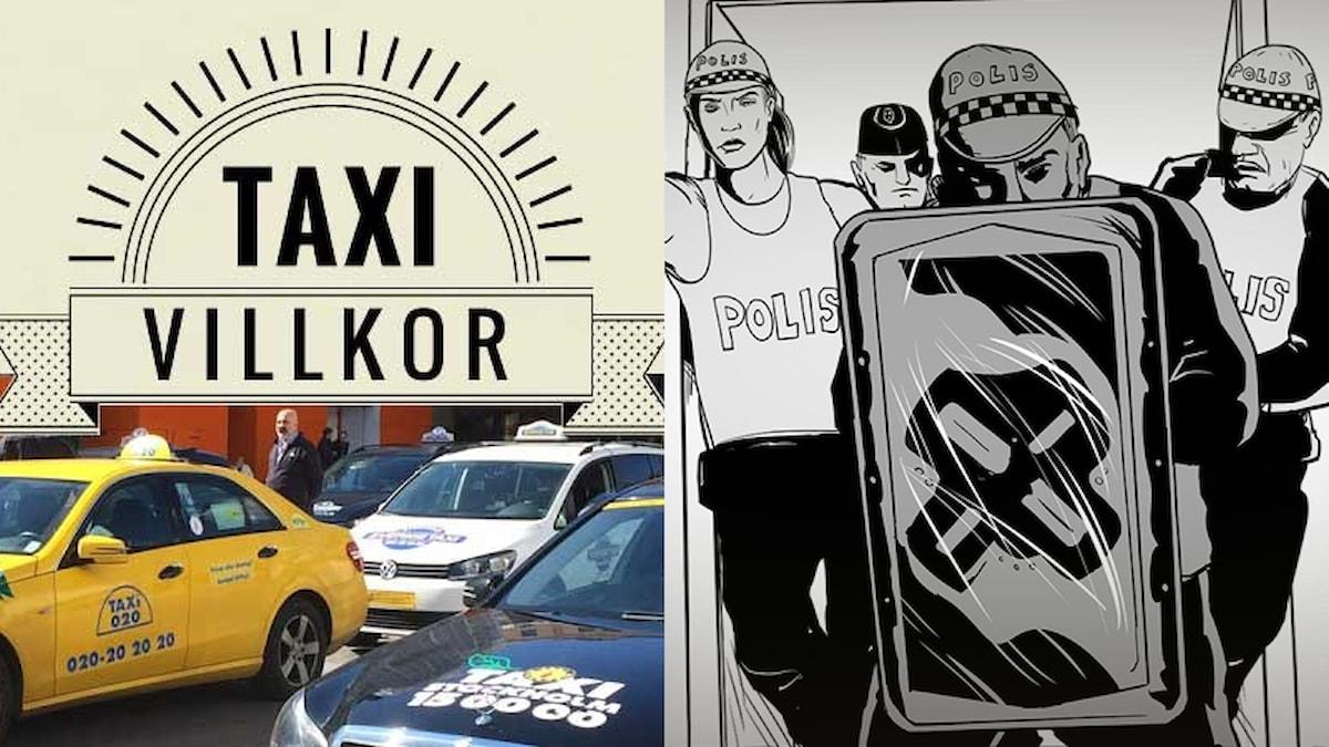 """Taxibilar under skylt med text """"Taxivillkor"""". Tecknade personer med polisutrustning."""