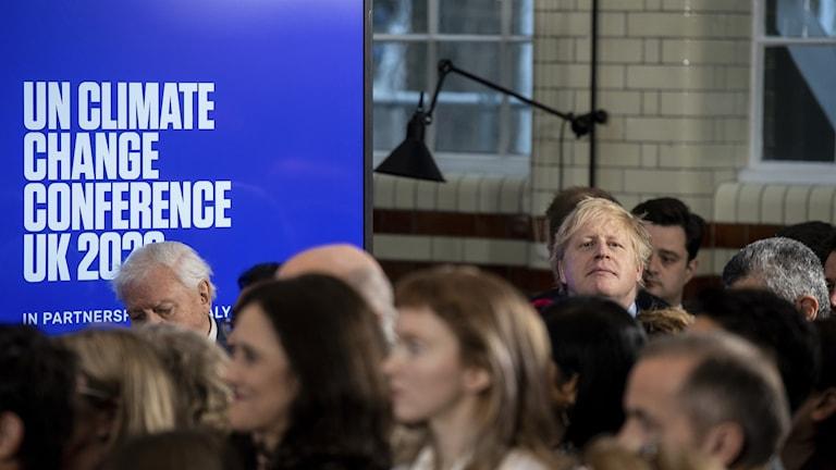 Boris Johnson under ett uppstartsmöte för  COP26 i februari i år.
