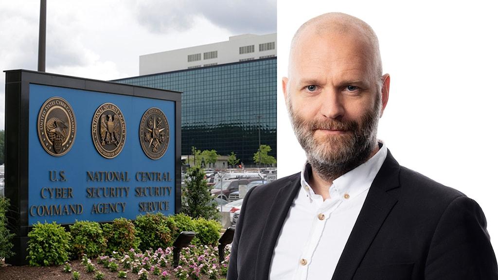 David Rasmusson mot vit bakgrund och skylten framför NSA i USA.