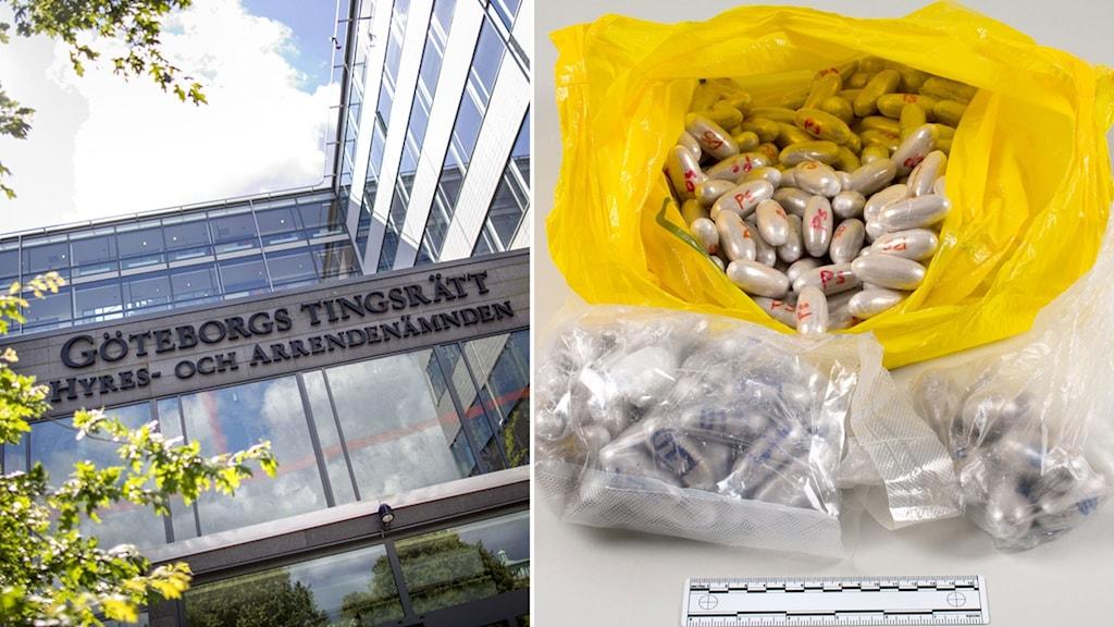 Bild på beslagtaget knark (kokain) och fasad på Göteborgs tingsrätt.