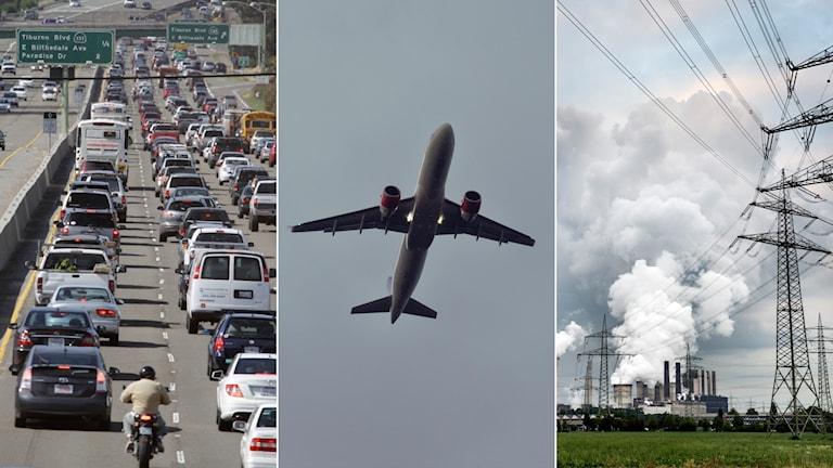 Tredelad bild: motorvägsköer, flygplan och kolkraftverk.