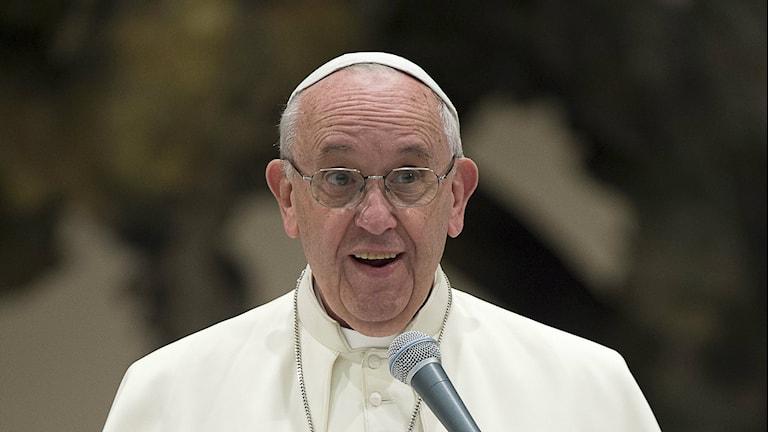 Bilden visar påve Franciskus som talar i en mikrofon. Foto: L'Osservatore Romano/TT.