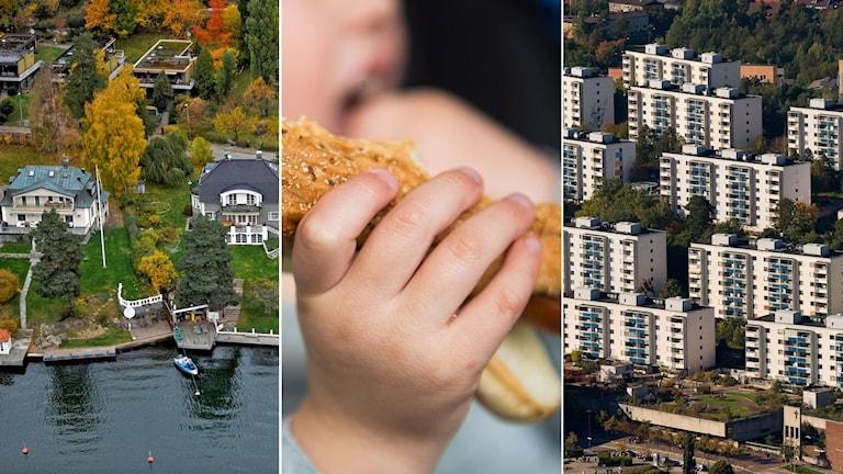 Flygbild över villor i Stocksund utanför Stockholm, i mitten barn äter korv med bröd, till höger flygbild över skärholmen.
