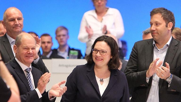 Andrea Nahles valdes till ny ordförande för tyska socialdemokraterna.