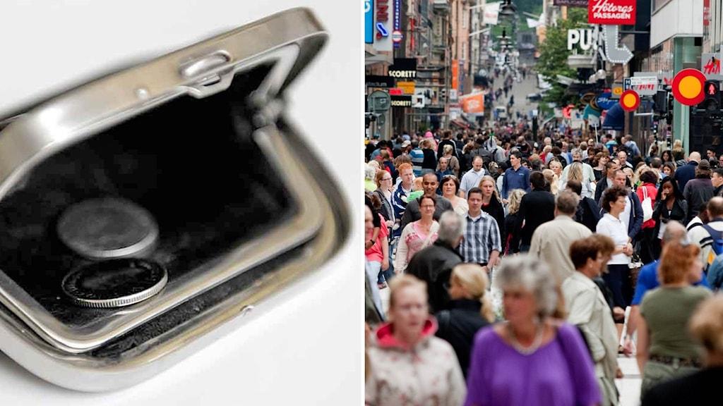 En tom plånbok och folk på en shoppinggata.