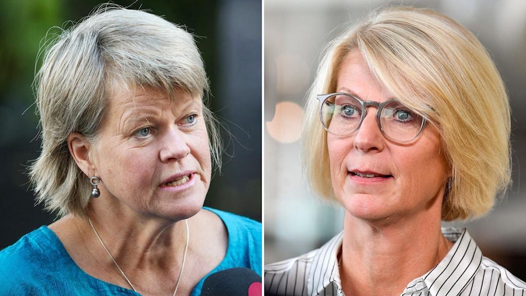 Ulla Andersson (V) och Moderaternas ekonomiskpolitiska talesperson Elisabeth Svantesson.