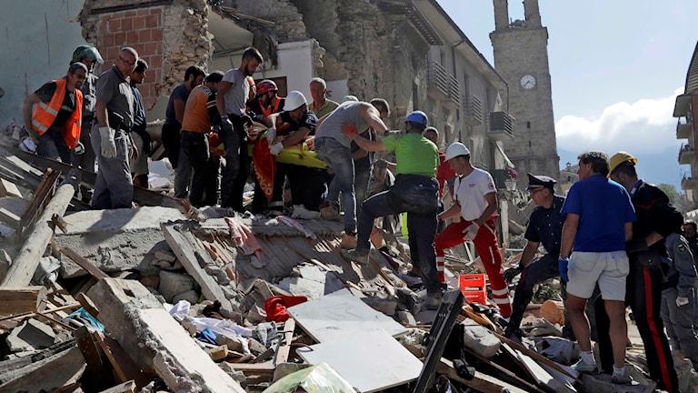 Räddningsarbetare letar efter överlevande i Amatrice