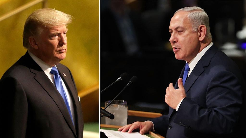 Delad bild: Trump och Netanyahu.