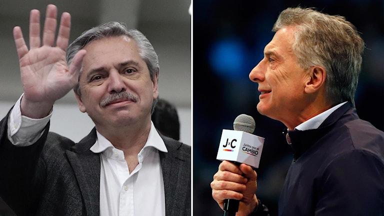 Utmanare Alberto Fernandez och sittande presidenten Mauricio Macri, Argentina.