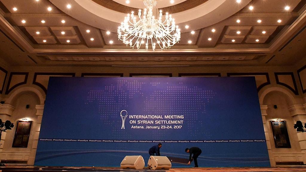 Lokalen i Astana i Kazakstan förbereds inför nya fredssamtal om kriget i Syrien.