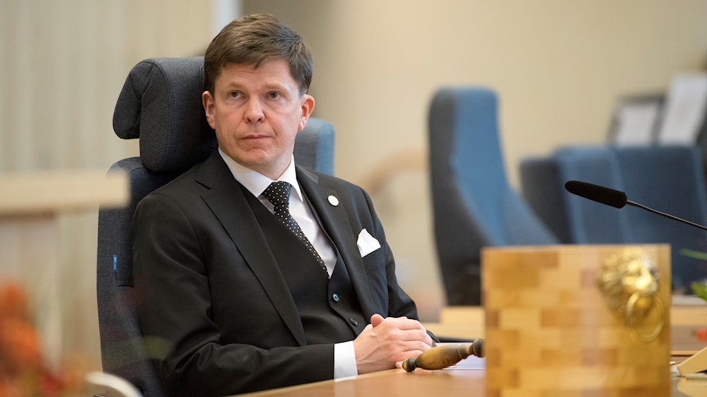 Talman Andreas Norlén under Riksdagens öppnande.