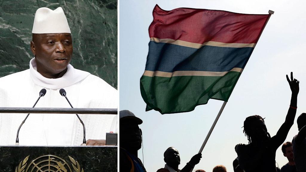 Delad bild: Gambias president och folkmassor som lyfter en gambiansk flagga.