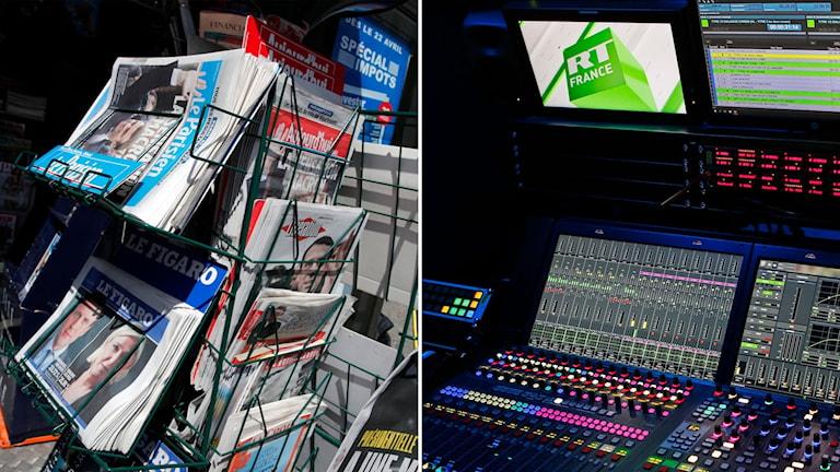 Delad bild: tidningsställ i frankrike och tvstudio med texten RT France på en skärm.