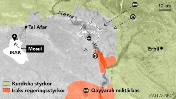 Karta över Mosul i Irak som visar var kurdiska styrkor och Iraks regeringsstyrkor befinner sig just nu.