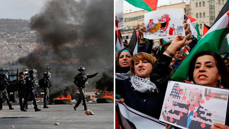 Palestinier protesterar mot Trumps besked i staden Nablus på norra Västbanken.