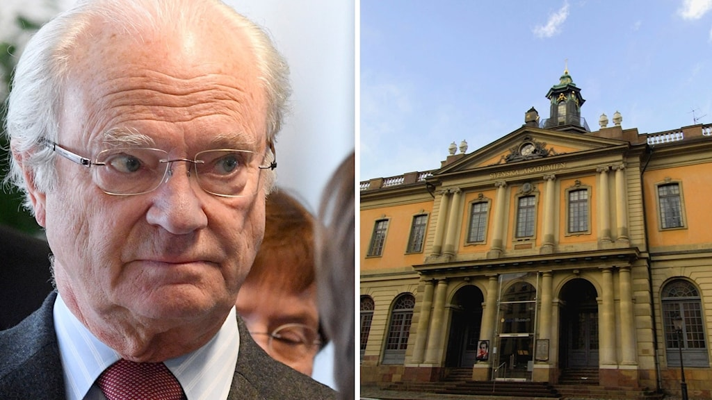 På det ena fotot ser man en närbild av kungen. På det andra fotot syns ett pampigt gult hus.