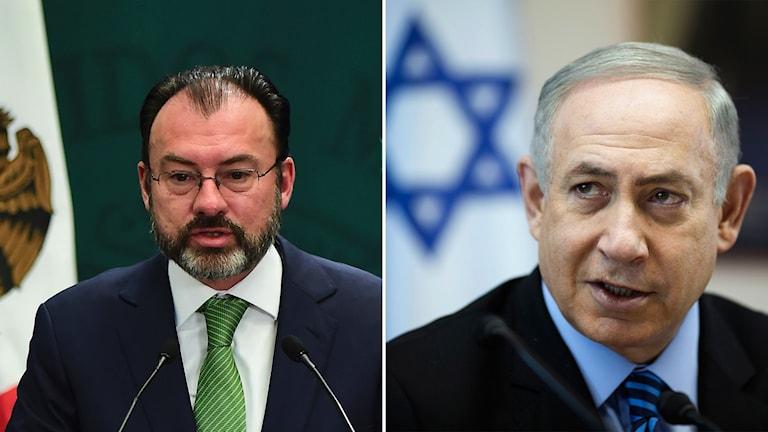 Mexikos utrikesminister Luis Videgaray och Israels premiärminister Benjamin Netanyahu.