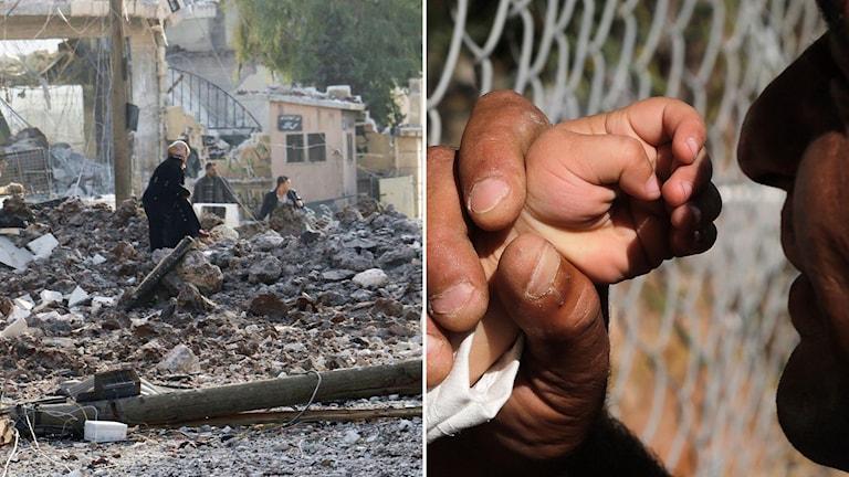 Förödelse på gatorna i Syrien. Till höger: en man håller sin sons hand.