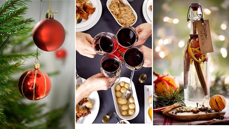 Tredelad bild: julgranskulor i gran, fyra person skålar i rödvin, en flaska snaps