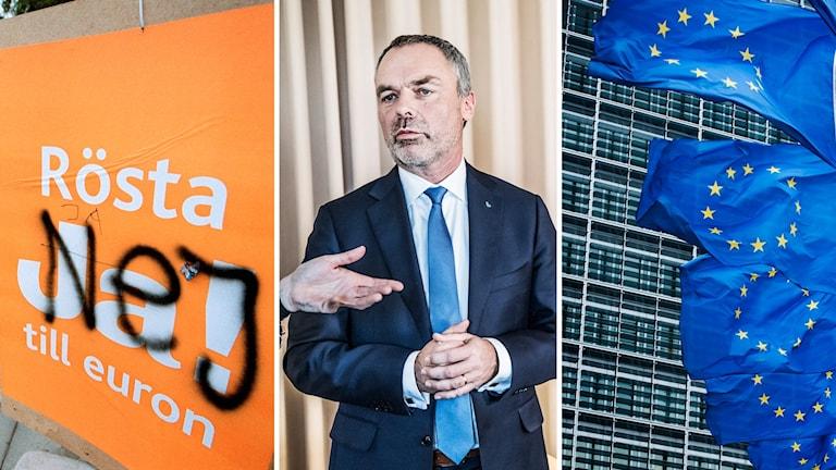 Skylt med euro, Björklund och EU-flaggor.