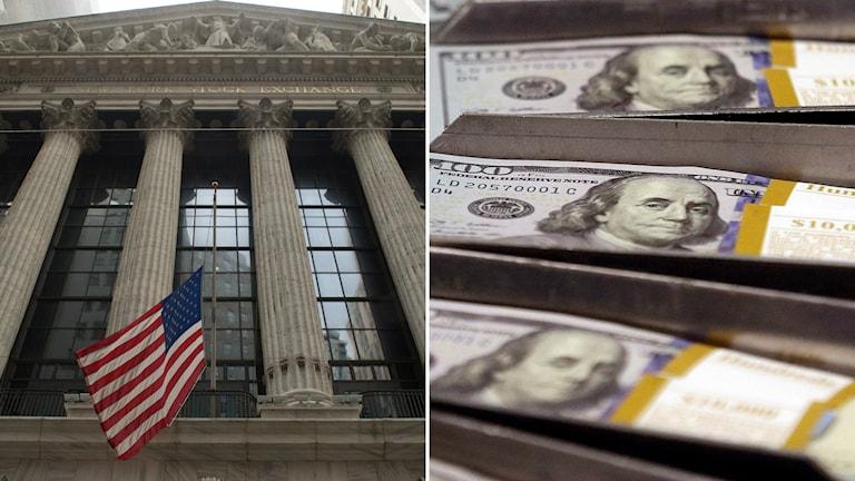 Amerikanska centralbanken till vänster och dollarsedlar till höger.