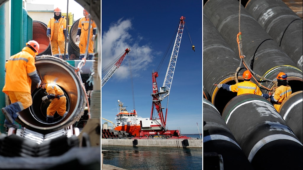 Tredelad bild: Arbetare jobbar med gasledningen mellan Ryssland och Tyskland på två av bilderna, står vid stora rör. Och en bild på Slite hamn.