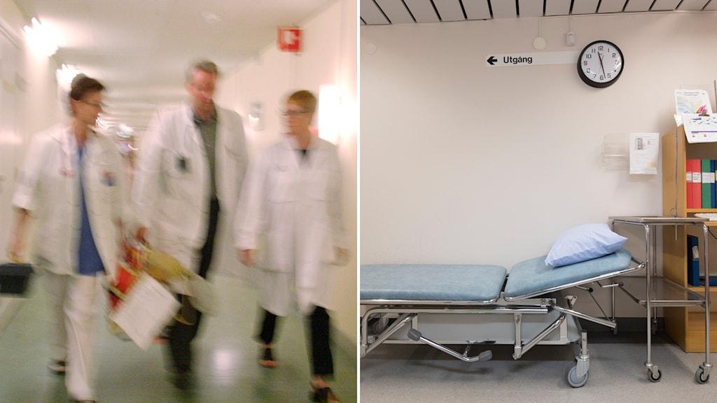 Läkare i en korridor och en sjukhusbrits.