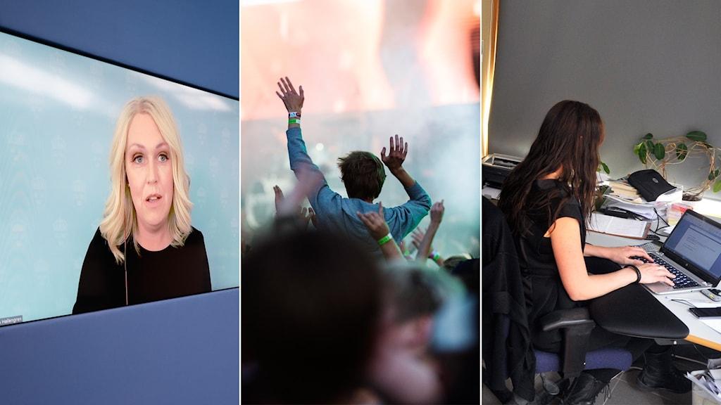 tredelad bild med lena hallengren på videoskärm, en person i publikhav, en kvinna som sitter och jobbar vid en dator.