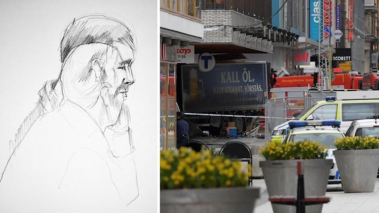 Skiss på Rakhmat Akilov i rätten och drottninggatan efter dådet.