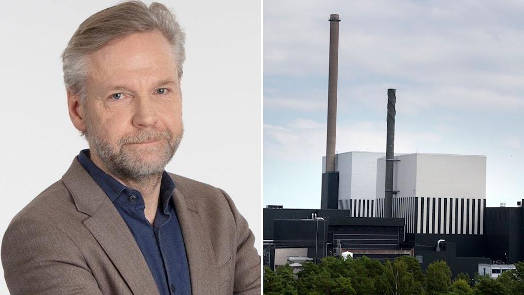 Tomas Ramberg och kärnkraftverken O2:an och O1:an på Simpevarpshalvön utanför Oskarshamn.