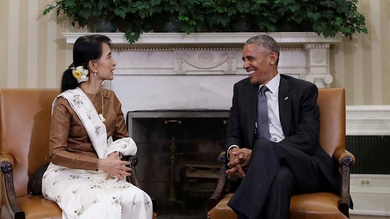 Aung San Suu Kyi och Barack Obama.