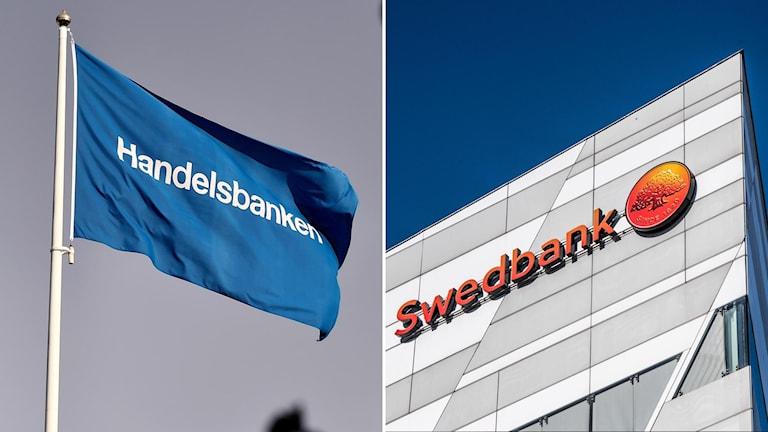 Handelsbankens flagga och ett hus med Swedbanks logga.