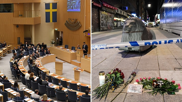 Bildkollage med en översiktsbild från riksdagen och en bild från Drottninggatan med ett betonglejon och ljus och blommor.