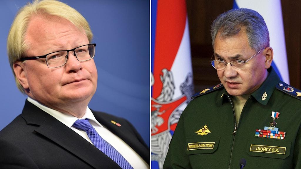 Sveriges försvarsminister Peter Hultqvist och Rysslands försvarsminister Sergej Sjojgu.