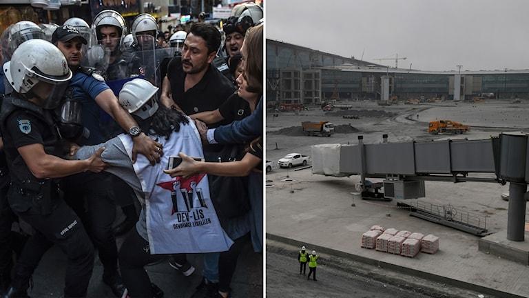 Delad bild: Turkisk polis griper protestant, flygplatsbygge.